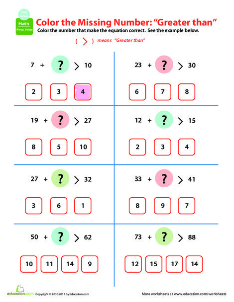 Second Grade Math Worksheets: Comparing Numbers: Greater Than