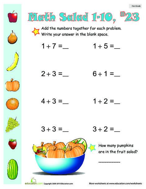 First Grade Math Worksheets: Math Salad 23