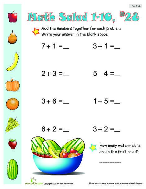 First Grade Math Worksheets: Math Salad 28