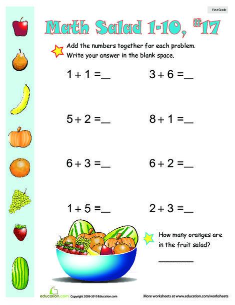 First Grade Math Worksheets: Math Salad 17