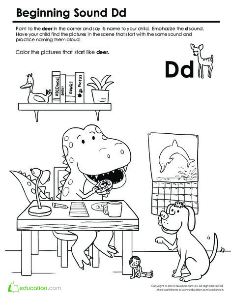 Preschool Reading & Writing Worksheets: Beginning Sounds Coloring: Sounds Like Dog
