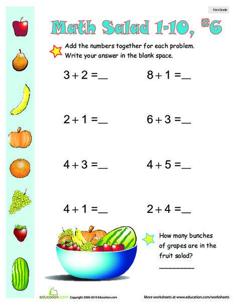 First Grade Math Worksheets: Math Salad 6