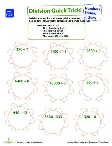 Fourth Grade Math Worksheets: Quick Trick: Divide Numbers Ending in Zero