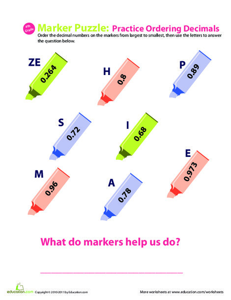 Fourth Grade Math Worksheets: Decimal Dash: Practice Ordering Decimals #9