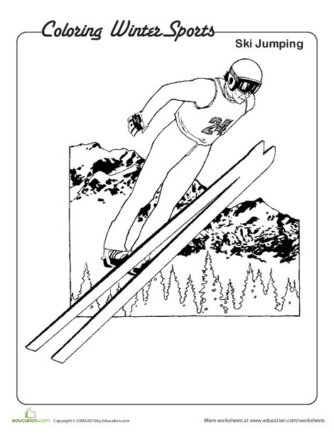 Kindergarten Pop culture and events Worksheets: Ski Jumping Coloring Page