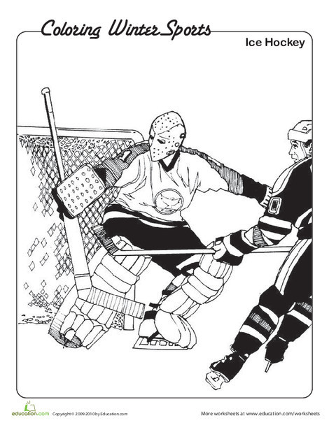 Kindergarten Pop culture and events Worksheets: Ice Hockey Coloring Page