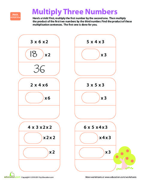 Fourth Grade Math Worksheets: Quick Trick: Multiply Three Numbers