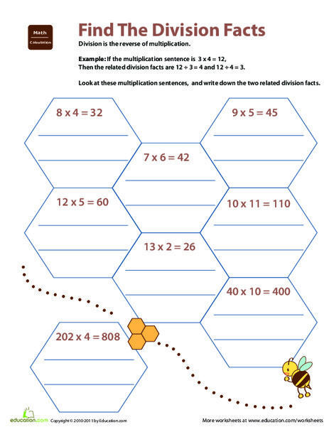 Fourth Grade Math Worksheets: Related Facts: Find the Division Facts