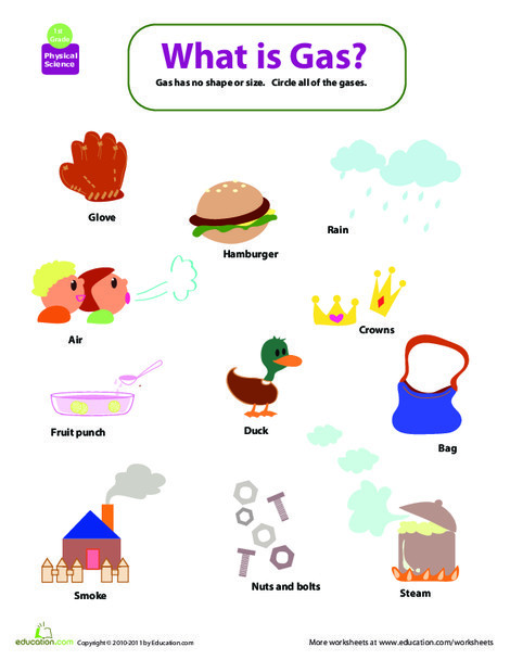 First Grade Science Worksheets: Matter Mixup: What's a Gas?