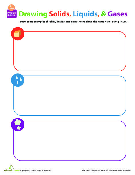 First Grade Science Worksheets: Matter Mixup: Drawing Solids, Liquids, and Gases