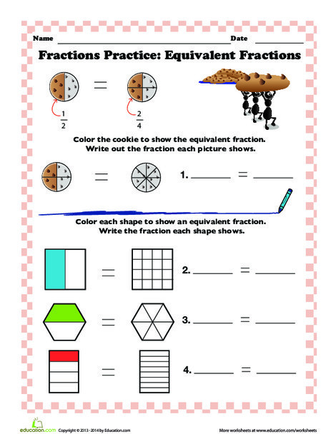 Third Grade Math Worksheets: Finding Equivalent Fractions
