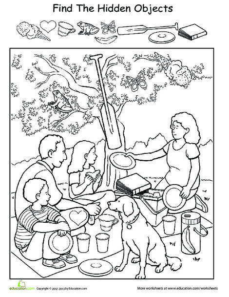 Preschool Coloring Worksheets: Find the Hidden Objects