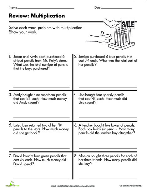 Third Grade Math Worksheets: At the Store: Multiplication Word Problems