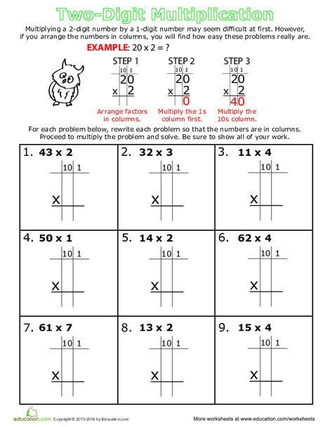 Third Grade Math Worksheets: Step by Step: Two-Digit Multiplication
