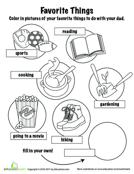 Kindergarten Holidays Worksheets: Father's Day Coloring