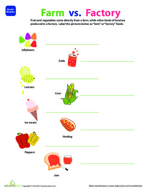 Second Grade Social studies Worksheets: Where Food Comes From: Farm or Factory?