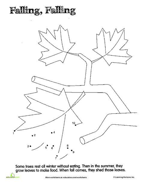 Preschool Coloring Worksheets: Dot to Dot 1-10: Leaves