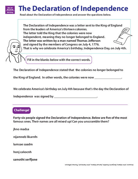 Third Grade Social studies Worksheets: Learn About the Declaration of Independence