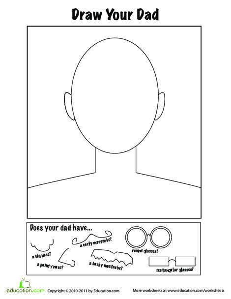 Second Grade Holidays Worksheets: Father's Day Activities: Draw a Portrait!