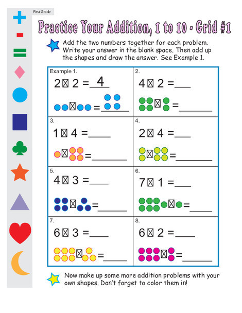 First Grade Math Worksheets: Single Digit Addition