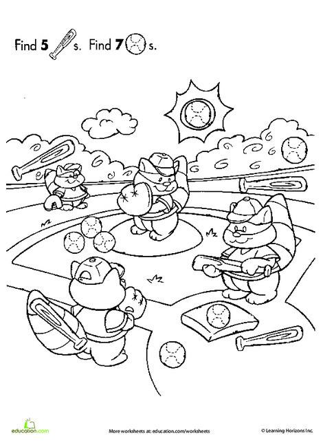 Preschool Math Worksheets: Find the Hidden Objects: Baseball