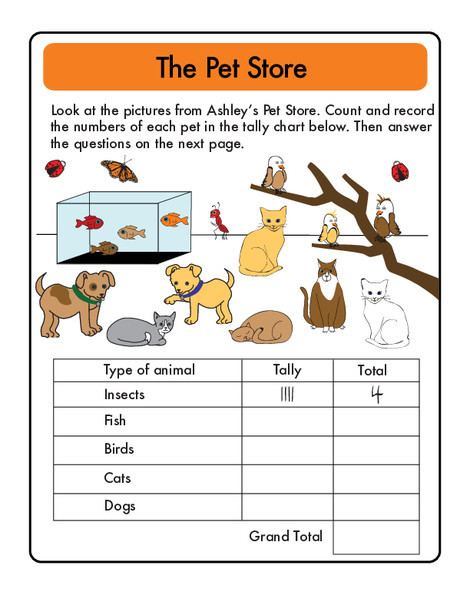 First Grade Math Worksheets: Doing Data: The Pet Store Tally