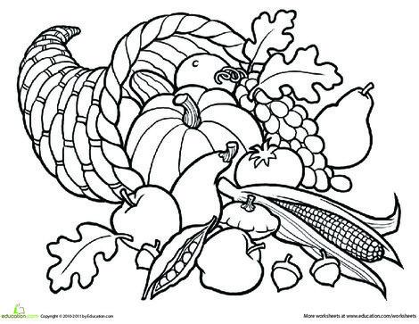 First Grade Seasons Worksheets: Color the Cornucopia