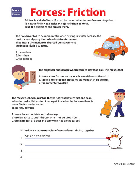 Second Grade Science Worksheets: Learn About Force: Friction