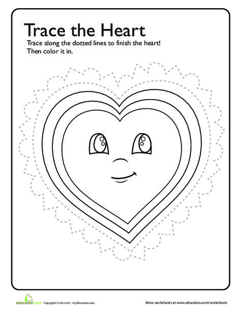 Preschool Reading & Writing Worksheets: Trace & Color: Heart!