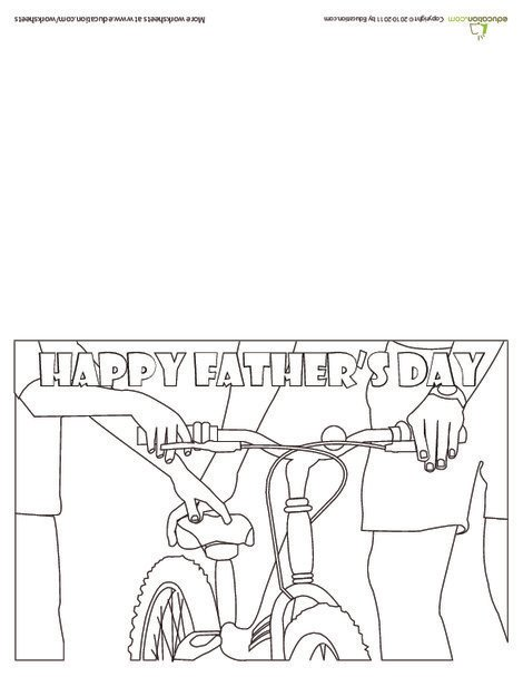First Grade Holidays Worksheets: Color a Father's Day Card: Riding Bikes