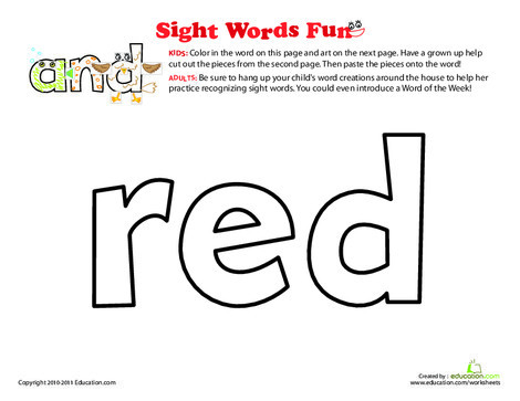 Preschool Reading & Writing Worksheets: Spruce Up the Sight Word: Red