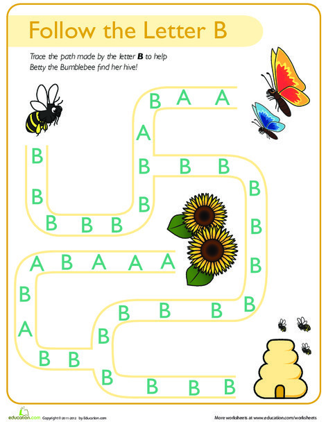 Preschool Reading & Writing Worksheets: Follow the Letter B Path