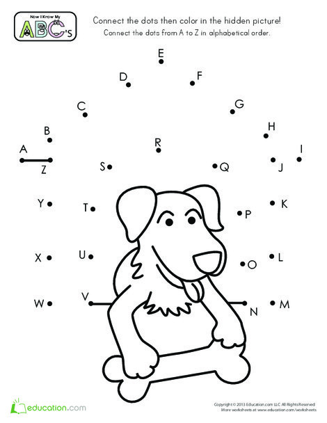Preschool Reading & Writing Worksheets: Alphabet Dot-to-Dot Dog House