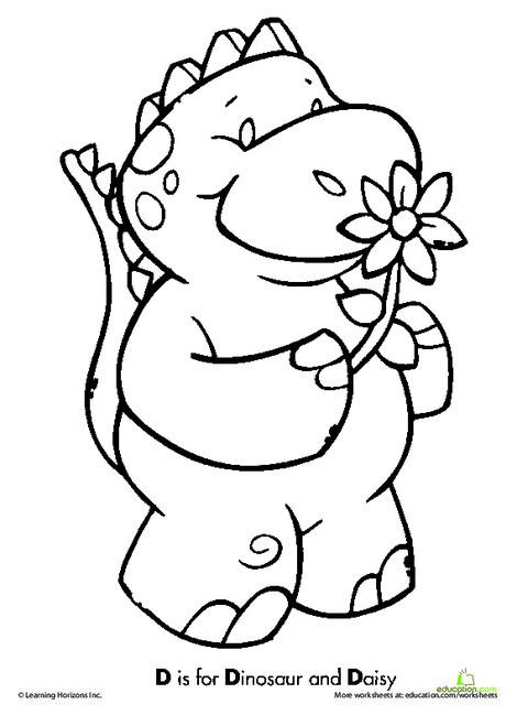 Preschool Reading & Writing Worksheets: D is for Dinosaur!