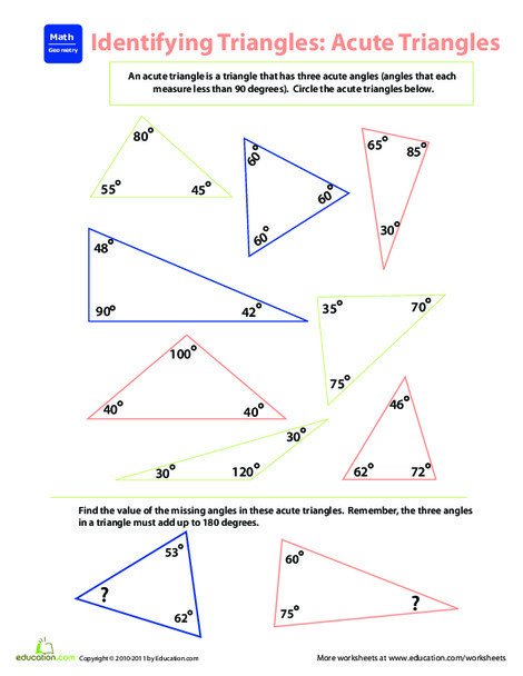 Fourth Grade Math Worksheets: Identifying Triangles: Acute Triangles