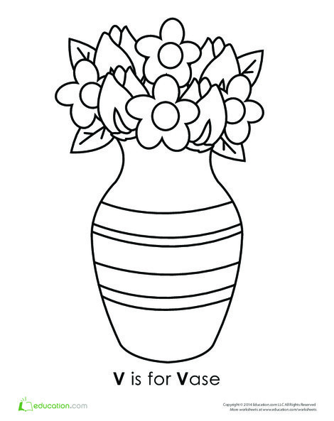 Preschool Reading & Writing Worksheets: Letter V Coloring Page