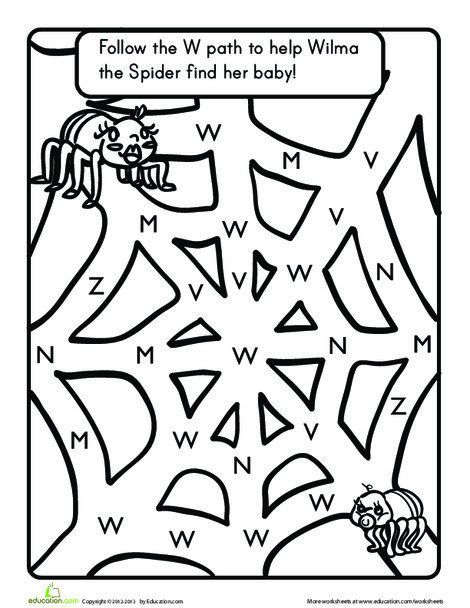Preschool Reading & Writing Worksheets: The Letter W: A Maze