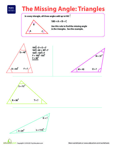 Fourth Grade Math Worksheets: The Missing Angle: Triangles