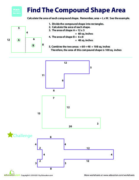 Fourth Grade Math Worksheets: Find the Area: Compound Shapes