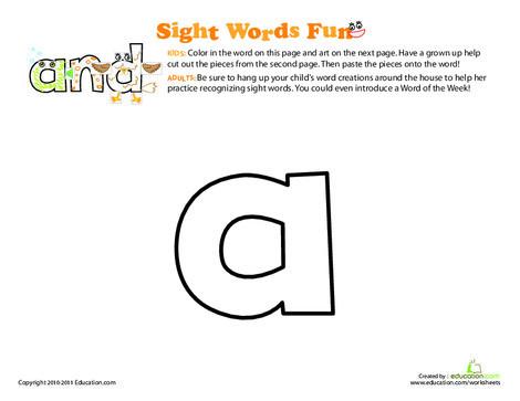 Preschool Reading & Writing Worksheets: Sight Word Fun