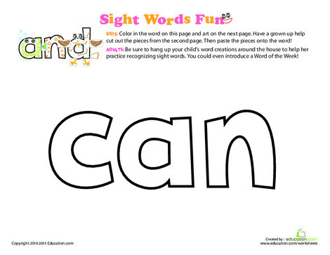Preschool Reading & Writing Worksheets: Spruce Up the Sight Word: Can
