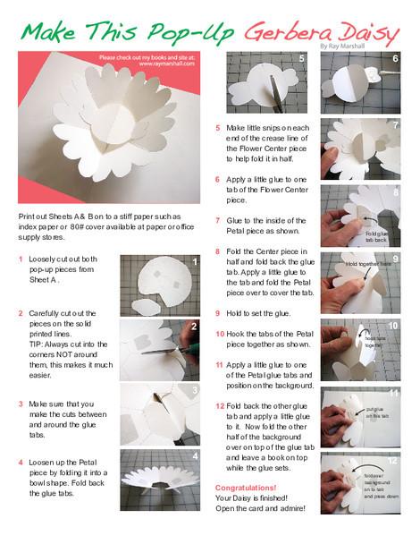 Second Grade Arts & crafts Worksheets: Make a Gerbera Daisy Paper Pop-Up