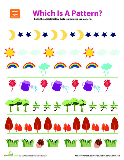 First Grade Math Worksheets: Pattern Practice: What's In a Pattern? #2