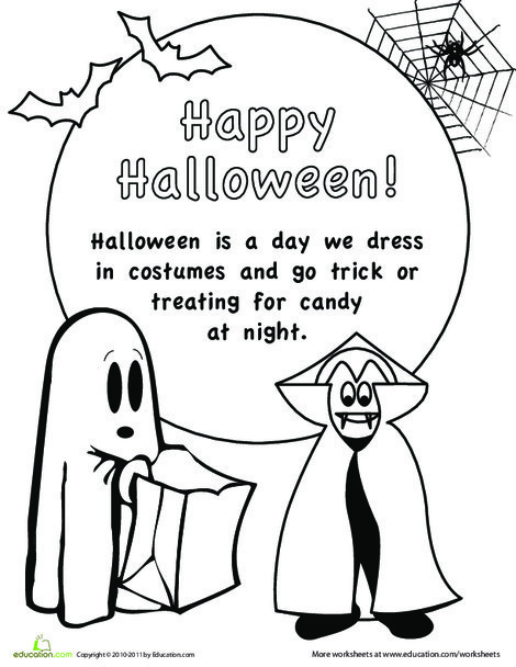 First Grade Holidays Worksheets: Color the Halloween Picture