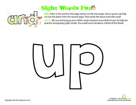 Preschool Reading & Writing Worksheets: Spruce Up the Sight Word: Up