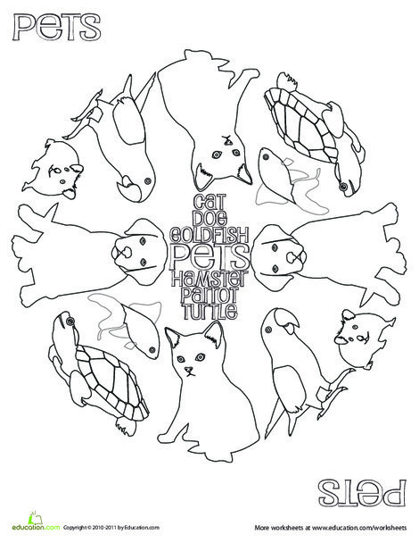 Kindergarten Coloring Worksheets: Pets Coloring Page