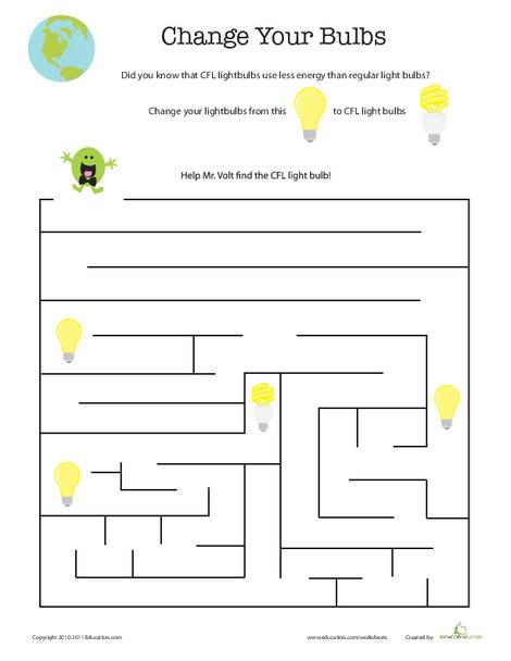 First Grade Offline games Worksheets: Eco-friendly Light Bulbs Maze