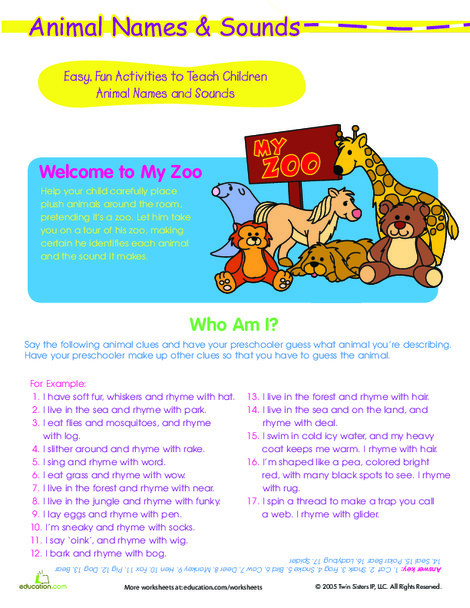 Preschool Reading & Writing Worksheets: Play Animal Games: Zoo Friends and Who Am I?