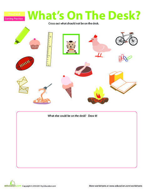 Preschool Math Worksheets: On the Desk: What Doesn't Belong?