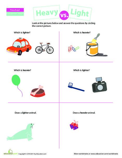 Preschool Math Worksheets: Comparing: Heavy vs. Light